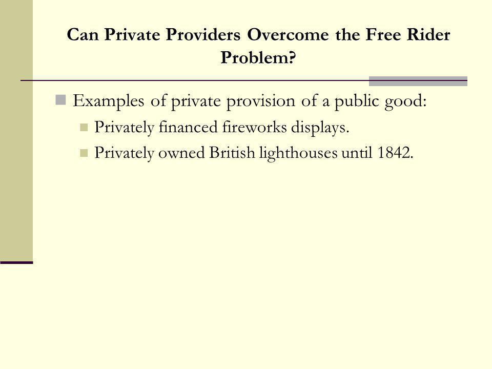 Can Private Providers Overcome the Free Rider Problem