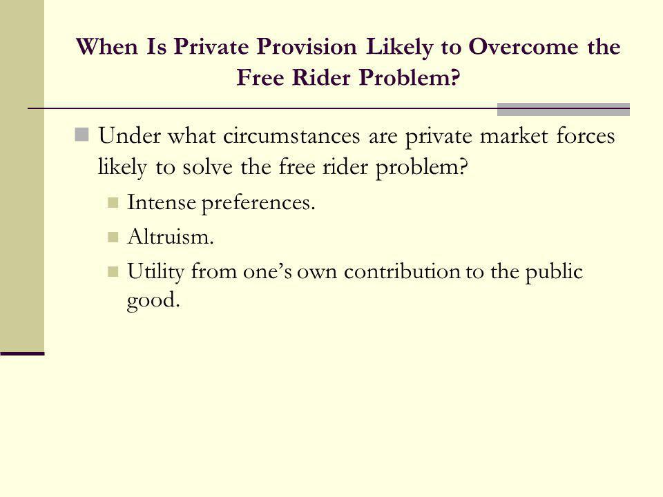 When Is Private Provision Likely to Overcome the Free Rider Problem