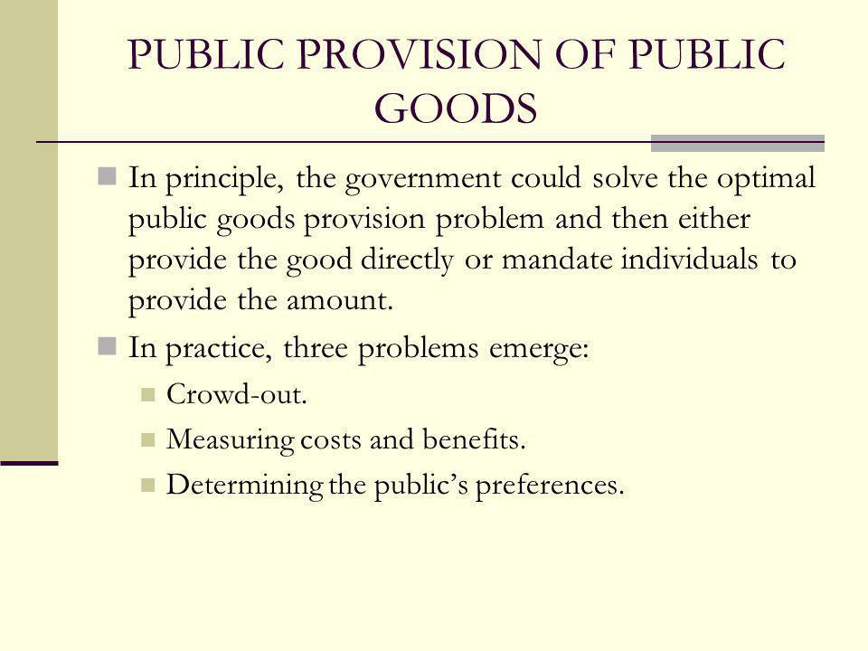 PUBLIC PROVISION OF PUBLIC GOODS