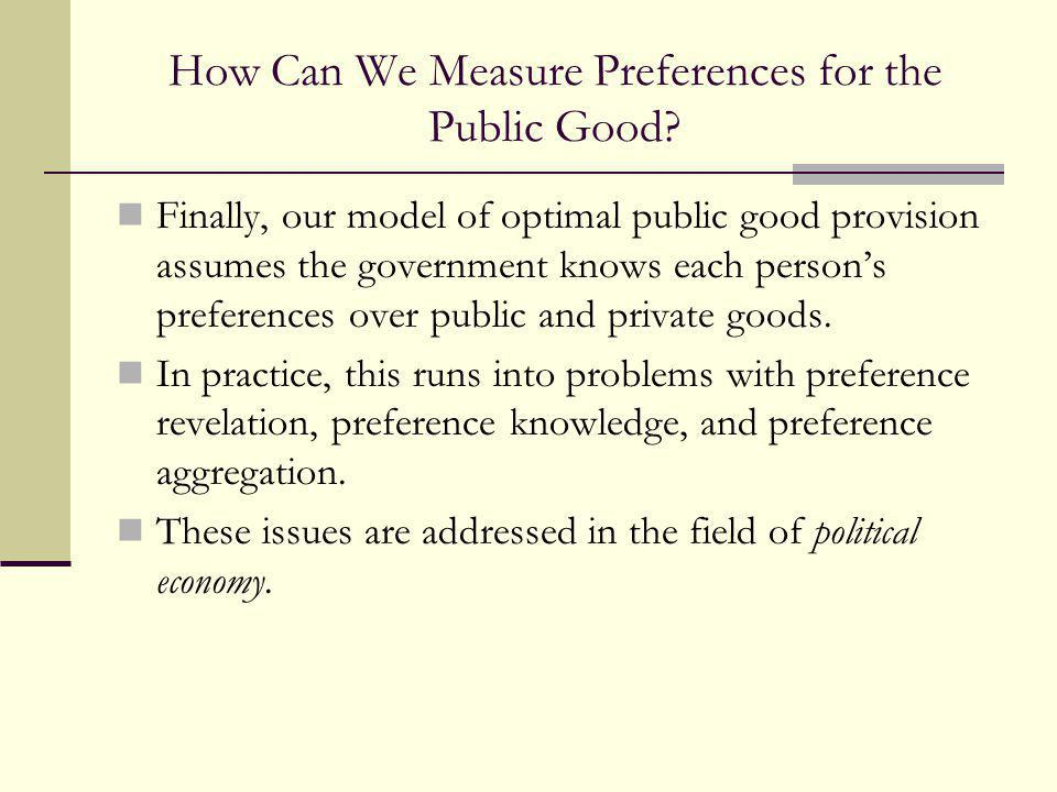 How Can We Measure Preferences for the Public Good