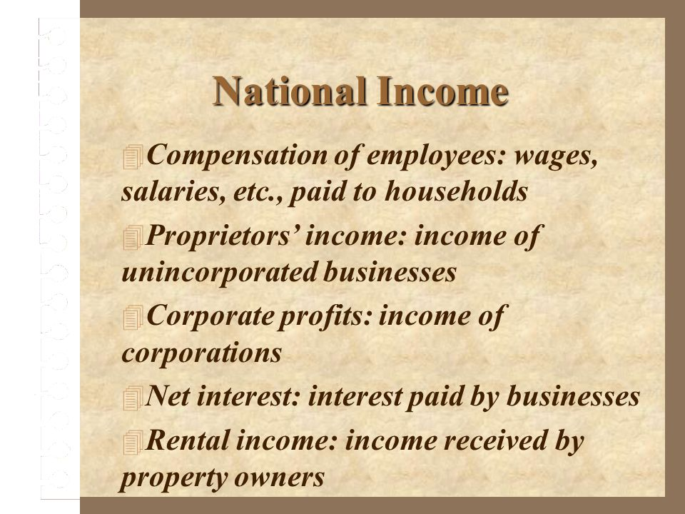 National Income Compensation of employees: wages, salaries, etc., paid to households. Proprietors' income: income of unincorporated businesses.