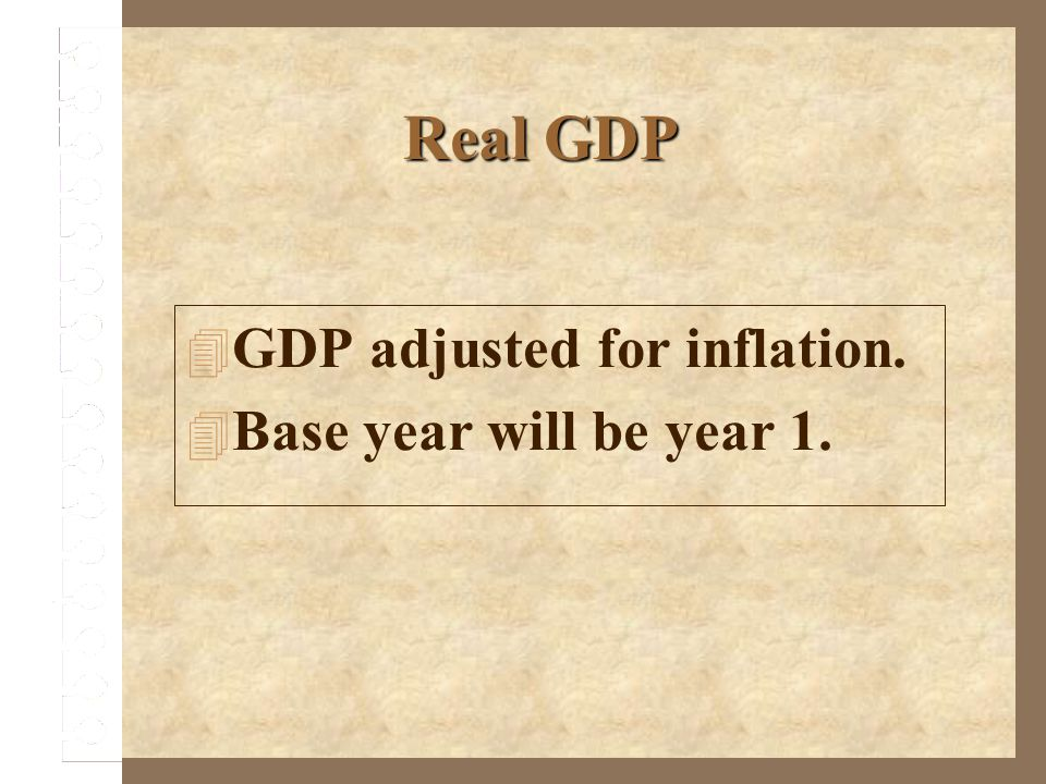 GDP adjusted for inflation. Base year will be year 1.