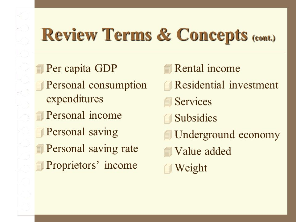 Review Terms & Concepts (cont.)