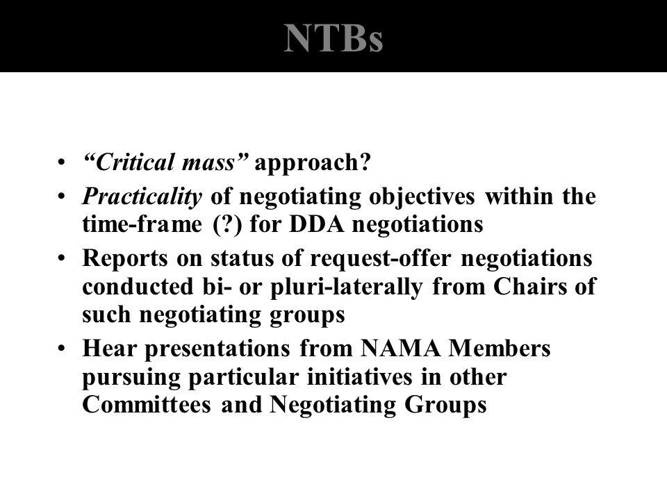 NTBs Critical mass approach