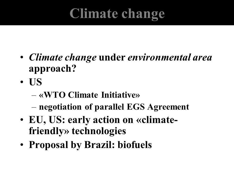 Climate change Climate change under environmental area approach US