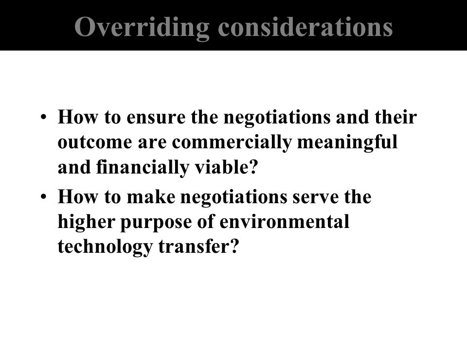 Overriding considerations