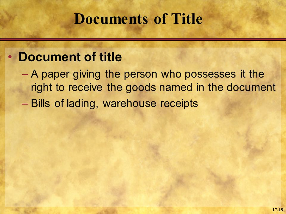 Documents of Title Document of title
