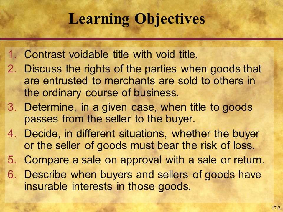 Learning Objectives Contrast voidable title with void title.