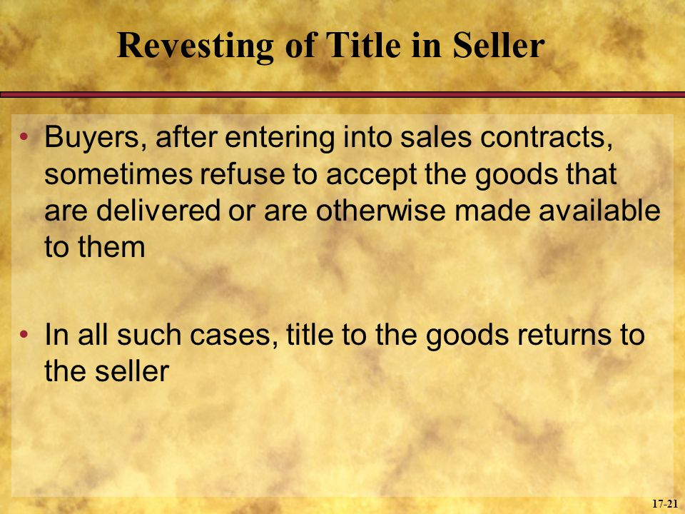 Revesting of Title in Seller