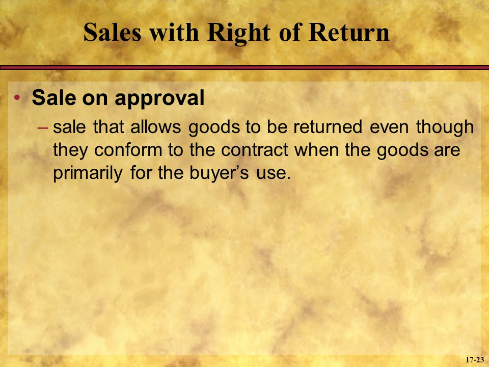 Sales with Right of Return