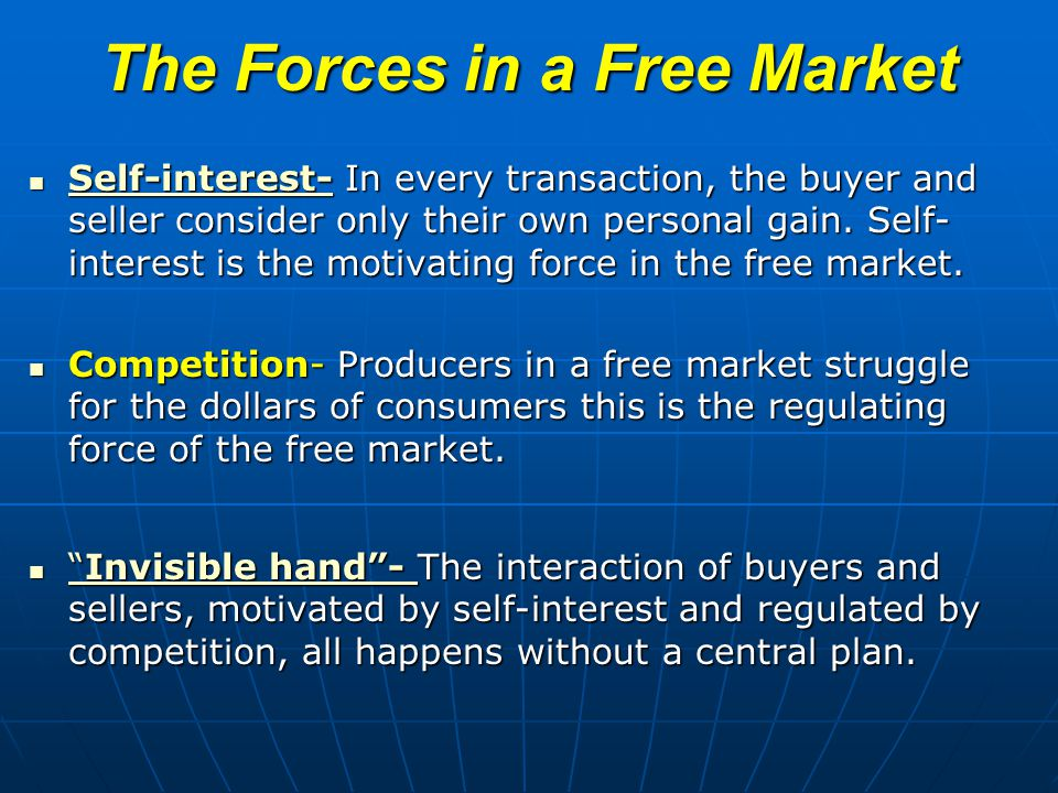 The Forces in a Free Market