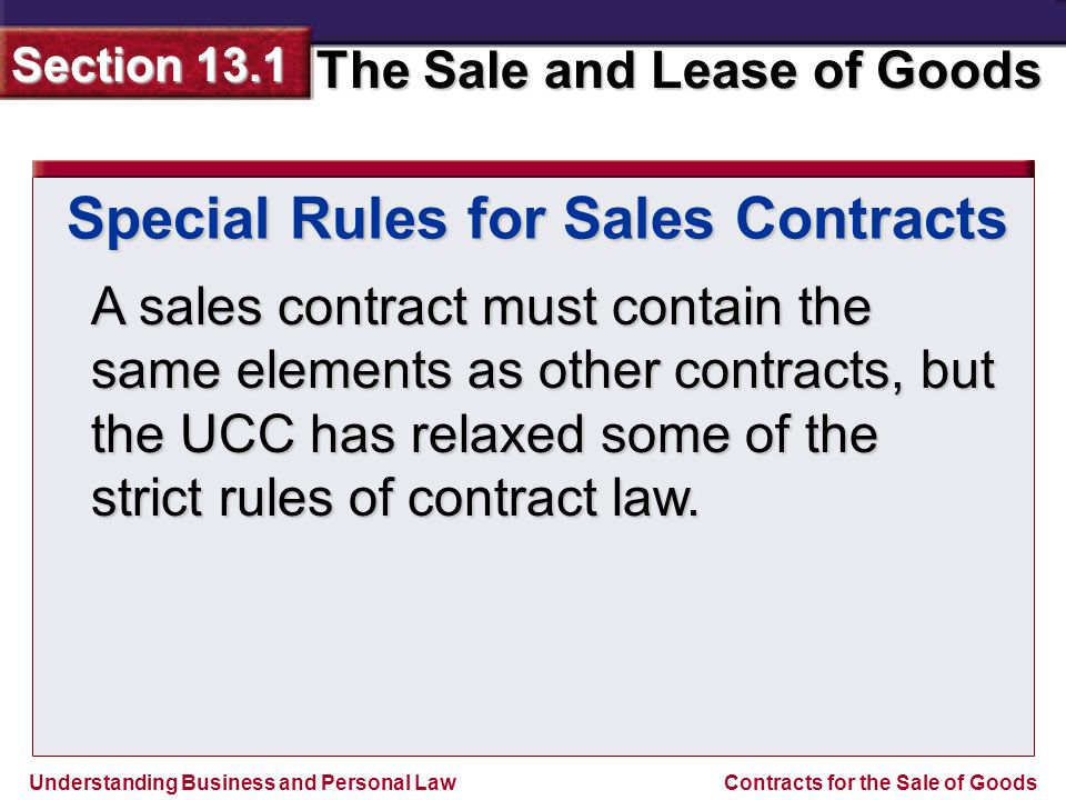 Special Rules for Sales Contracts