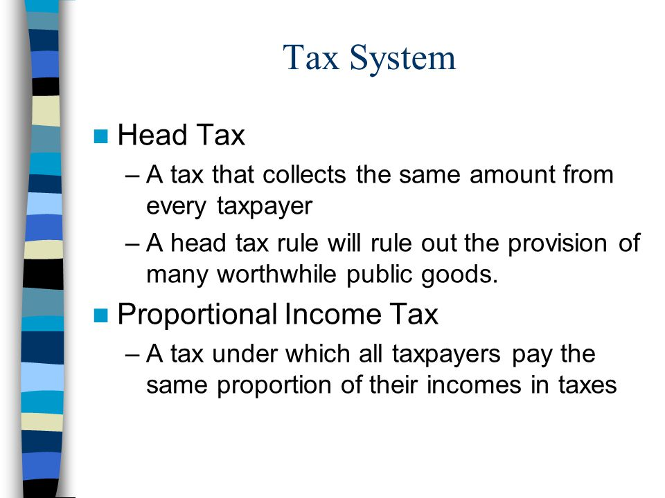 Tax System Head Tax Proportional Income Tax