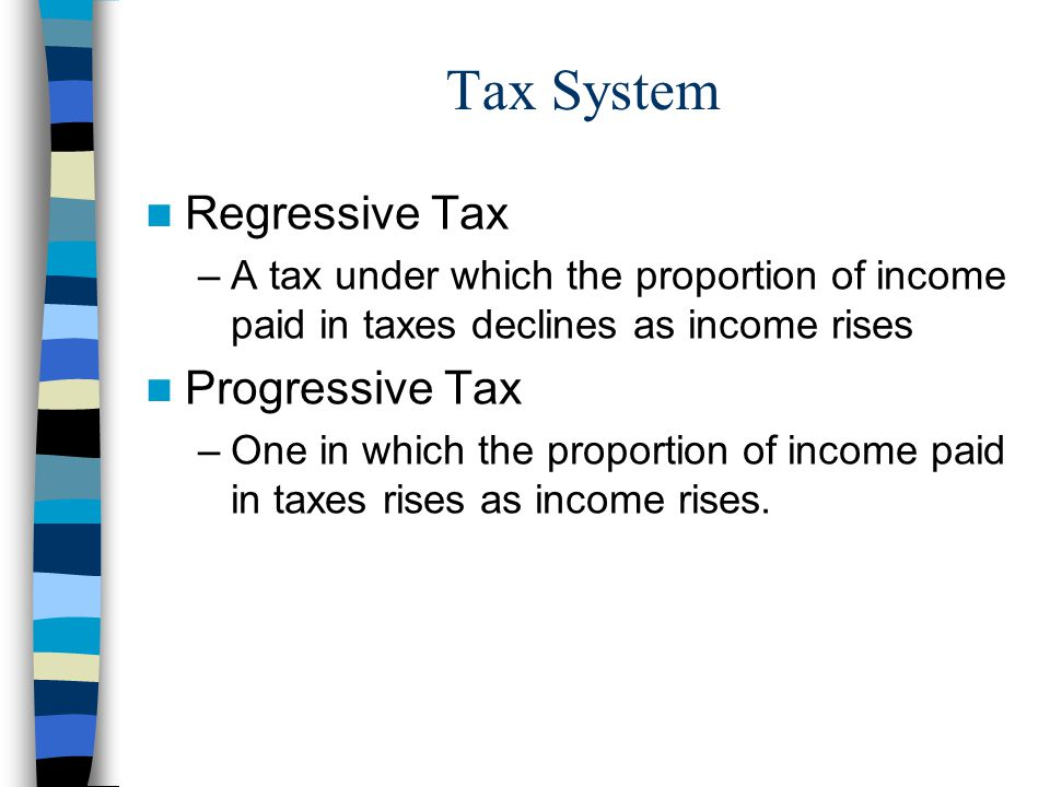 Tax System Regressive Tax Progressive Tax