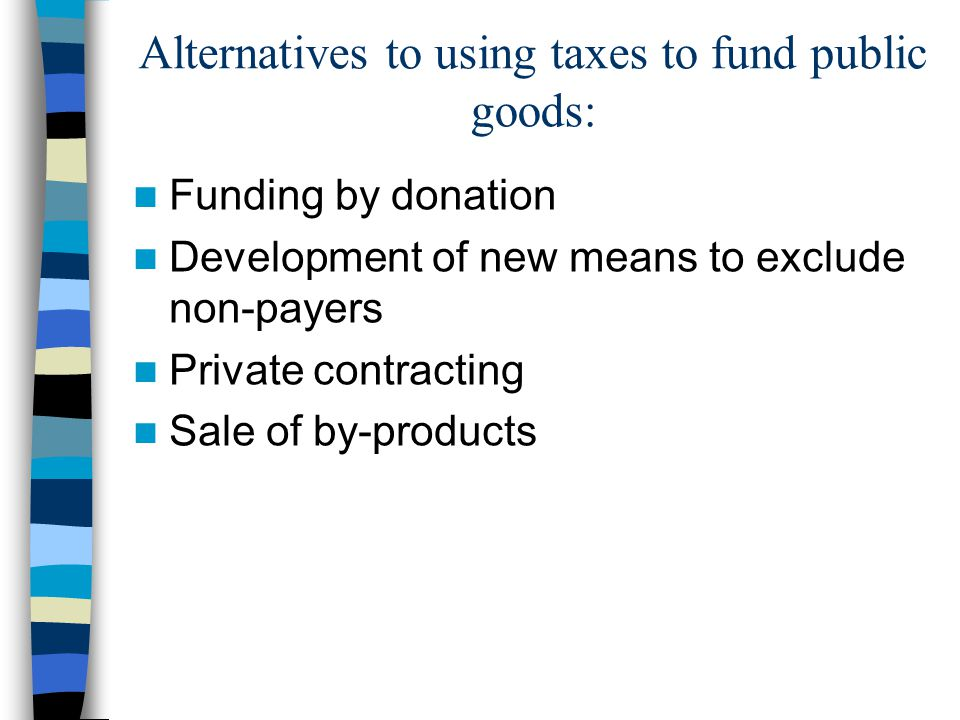 Alternatives to using taxes to fund public goods: