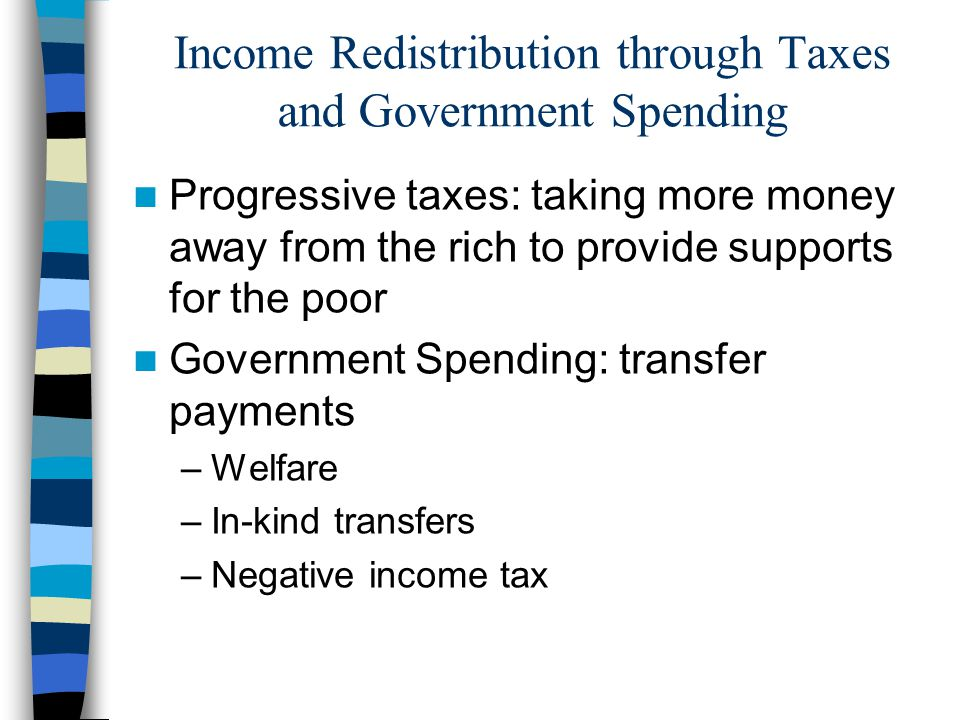 Income Redistribution through Taxes and Government Spending
