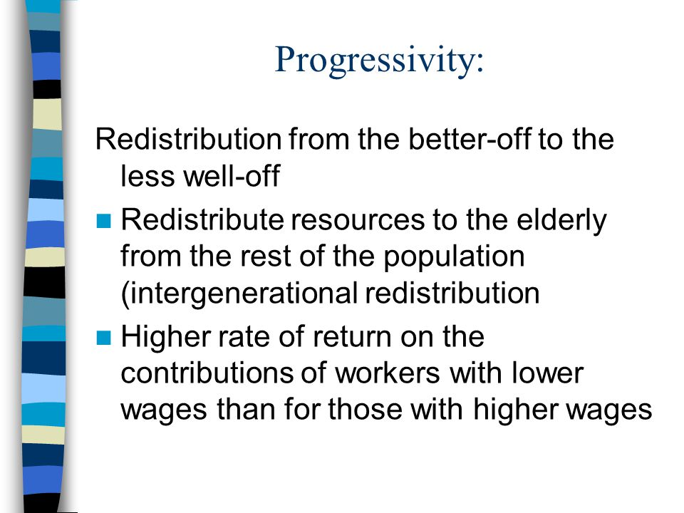 Progressivity: Redistribution from the better-off to the less well-off