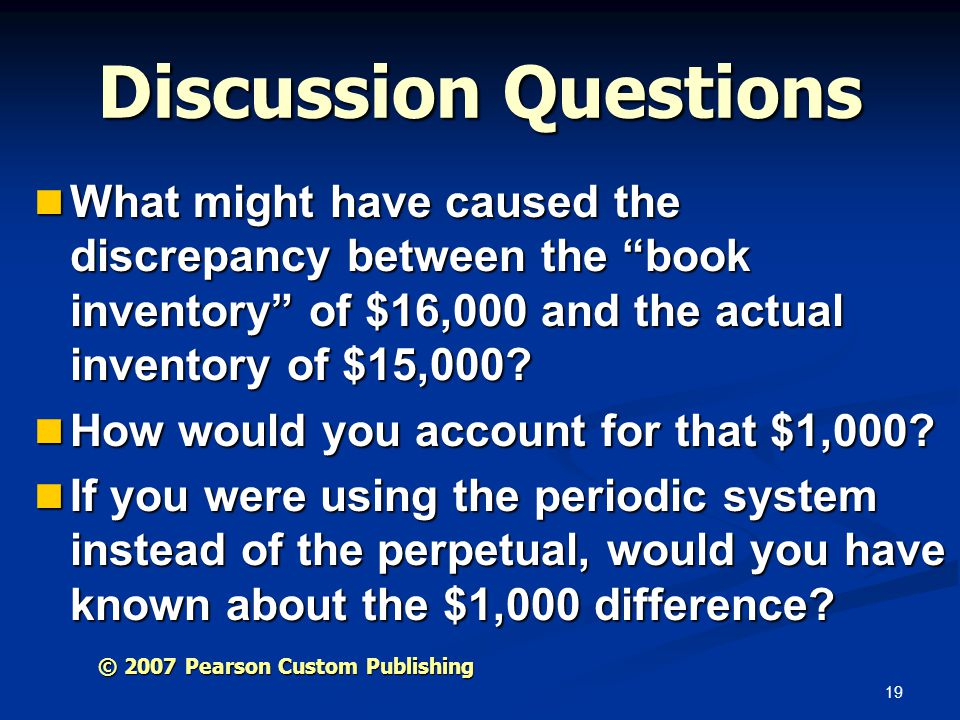Discussion Questions What might have caused the discrepancy between the book inventory of $16,000 and the actual inventory of $15,000