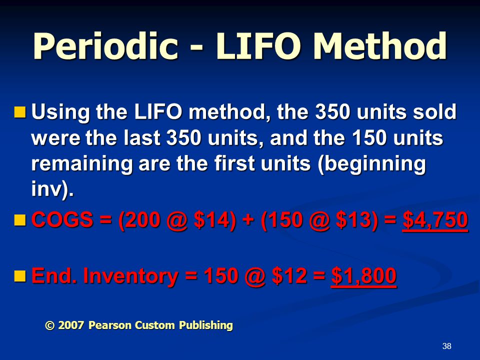 Periodic - LIFO Method