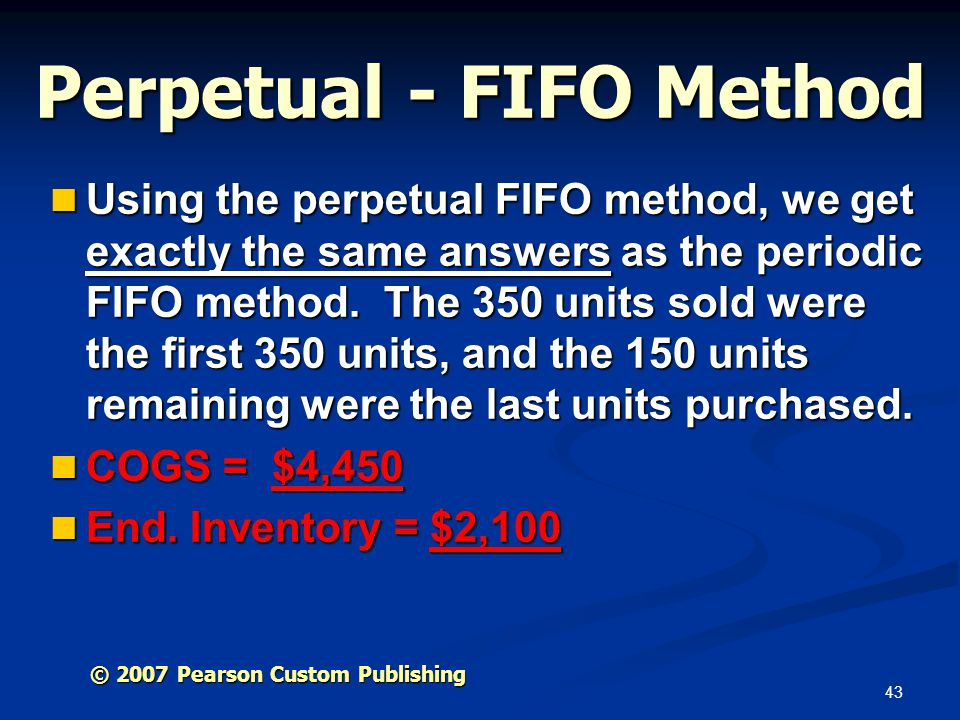 Perpetual - FIFO Method