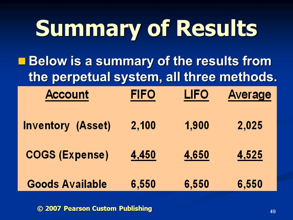 Summary of Results Below is a summary of the results from the perpetual system, all three methods.