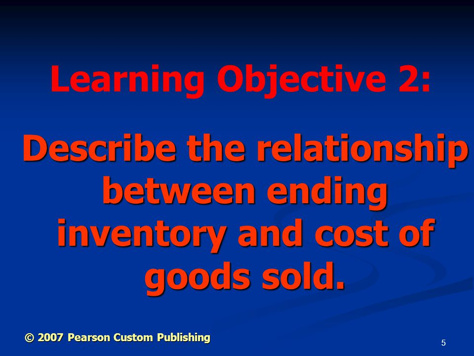 Learning Objective 2: Describe the relationship between ending inventory and cost of goods sold.