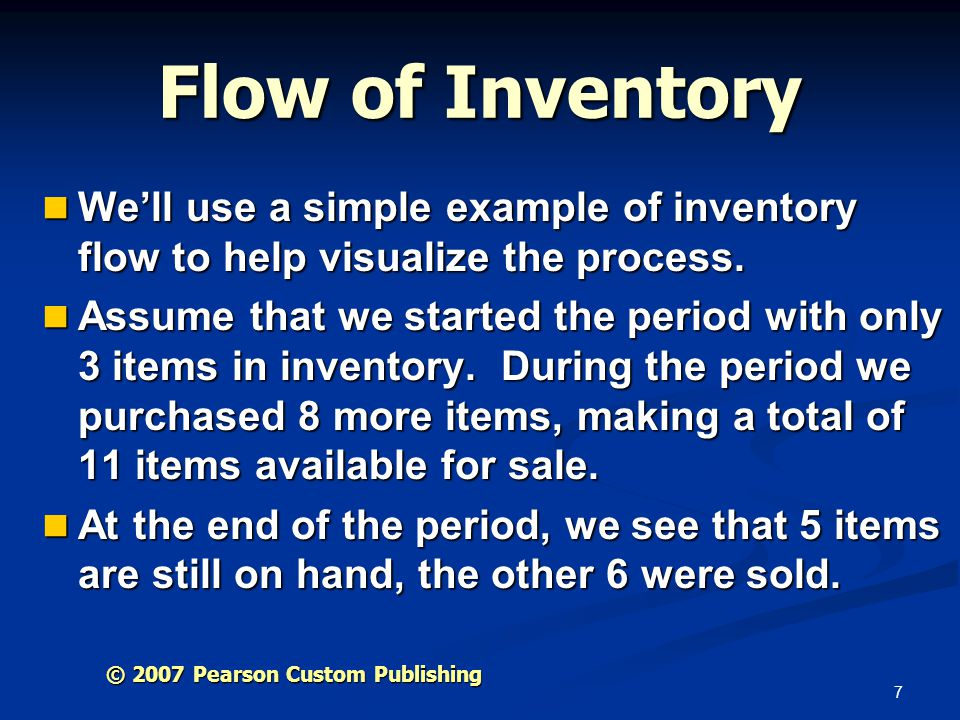 Flow of Inventory We'll use a simple example of inventory flow to help visualize the process.