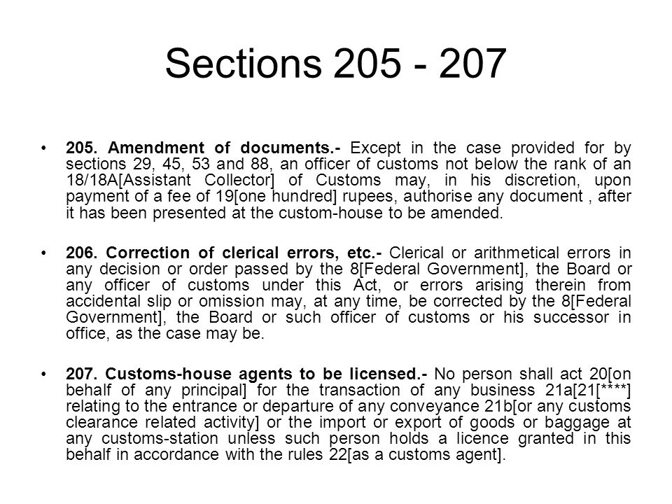 Sections 205 - 207