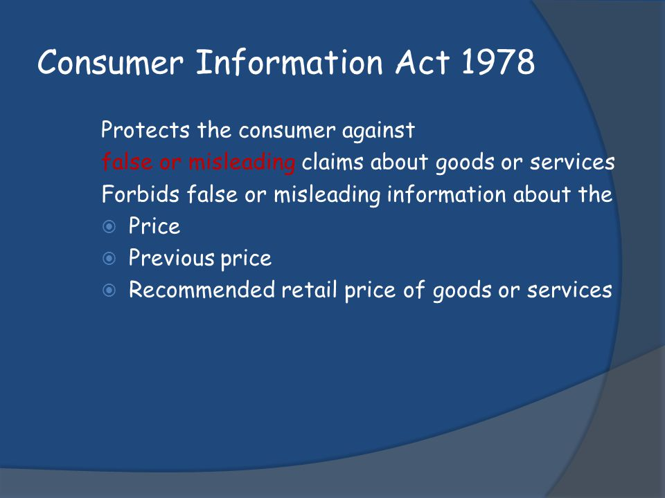 Consumer Information Act 1978