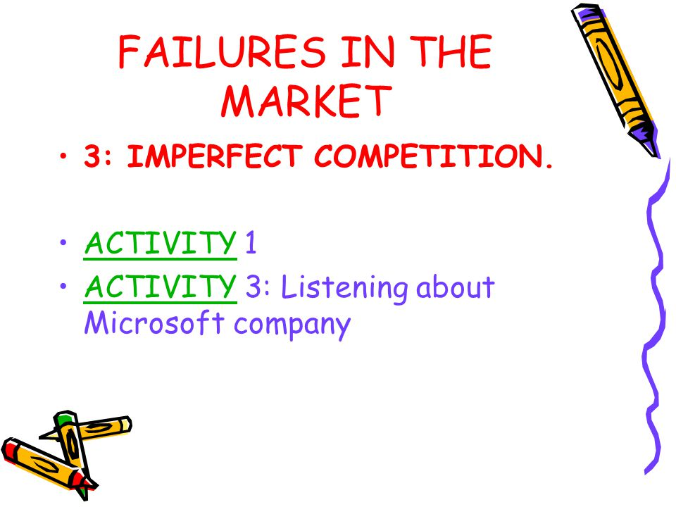 FAILURES IN THE MARKET 3: IMPERFECT COMPETITION. ACTIVITY 1