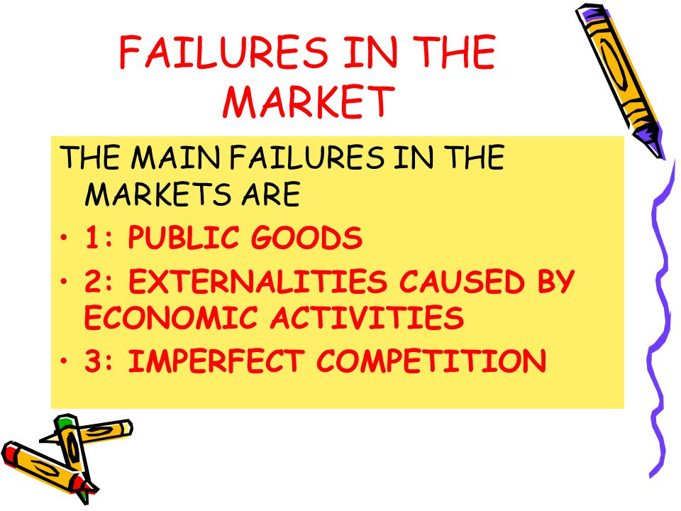FAILURES IN THE MARKET THE MAIN FAILURES IN THE MARKETS ARE