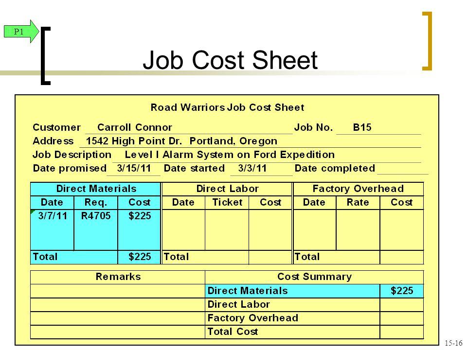 Job Cost Sheet P1.