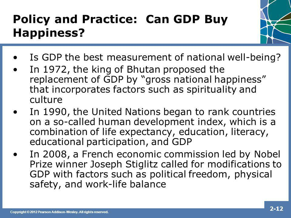 Policy and Practice: Can GDP Buy Happiness
