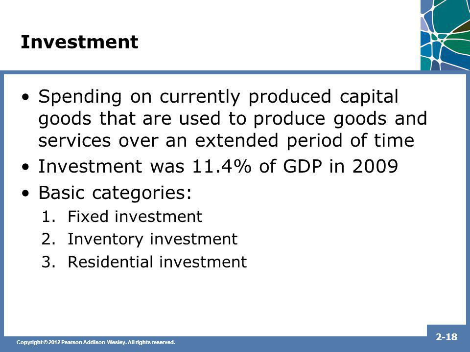 Investment was 11.4% of GDP in 2009 Basic categories: