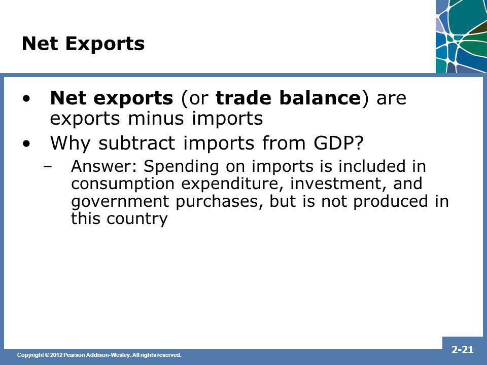 Net exports (or trade balance) are exports minus imports