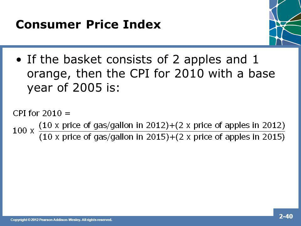 Consumer Price Index If the basket consists of 2 apples and 1 orange, then the CPI for 2010 with a base year of 2005 is: