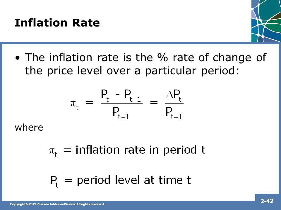 Inflation Rate The inflation rate is the % rate of change of the price level over a particular period: