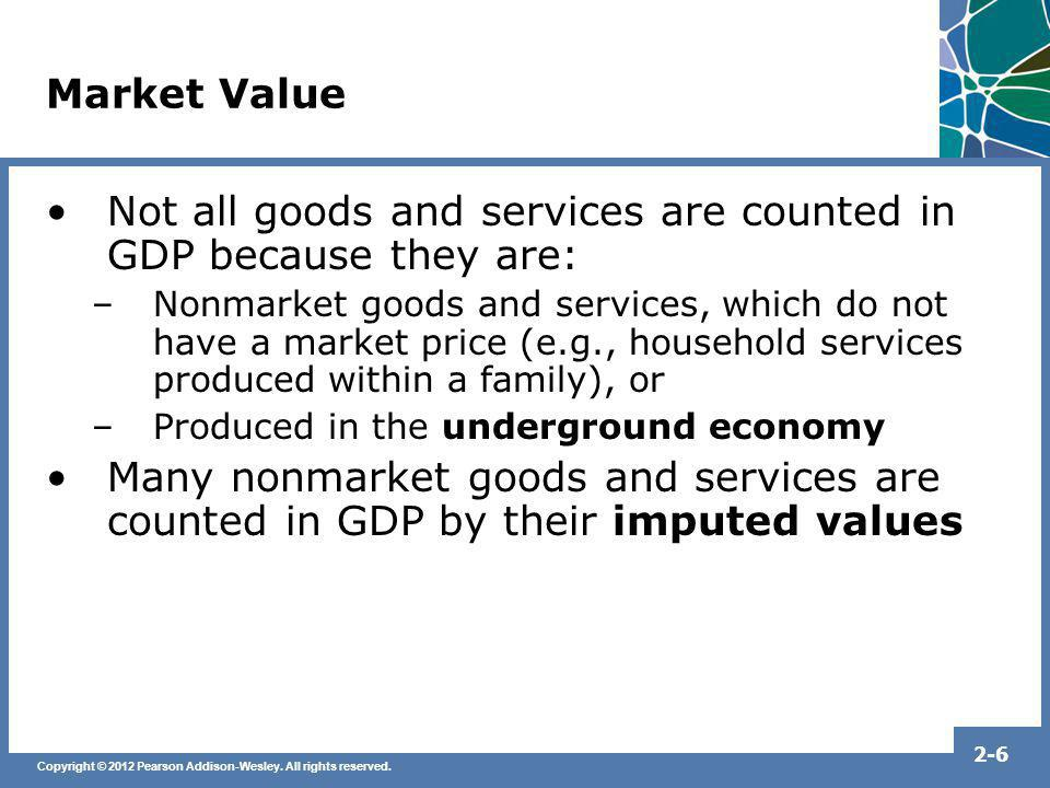 Not all goods and services are counted in GDP because they are: