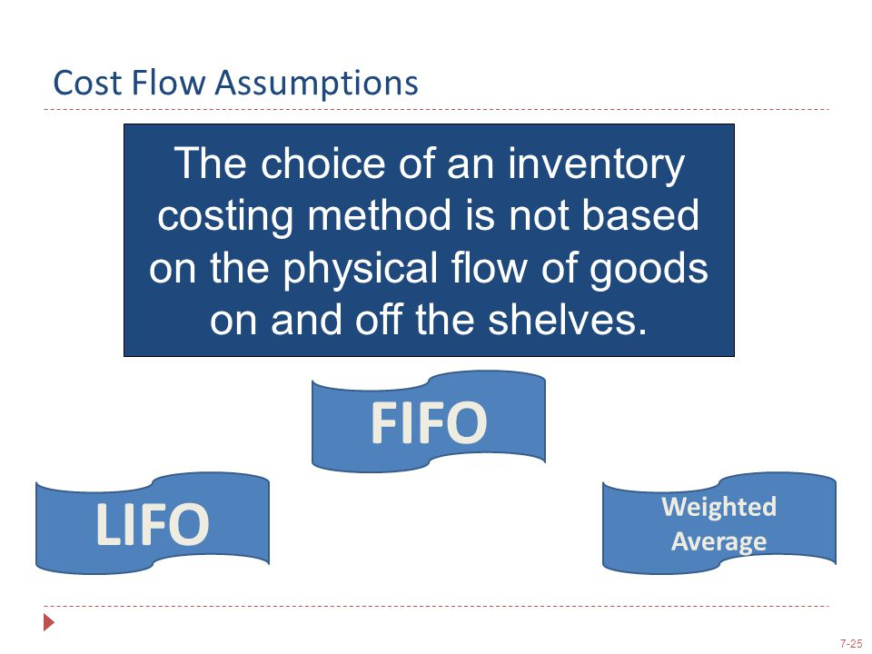Cost Flow Assumptions The choice of an inventory costing method is not based on the physical flow of goods on and off the shelves.