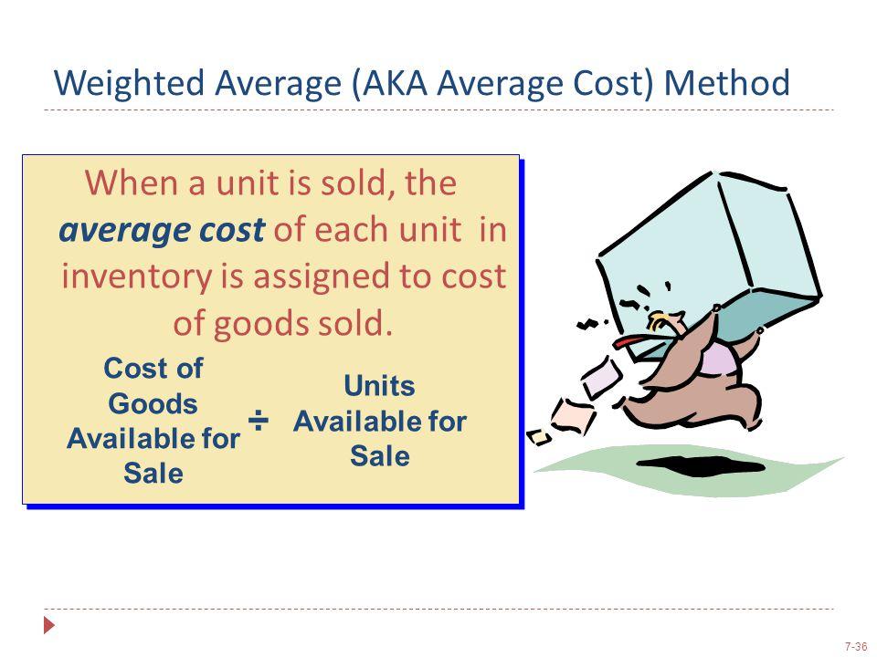 Weighted Average (AKA Average Cost) Method