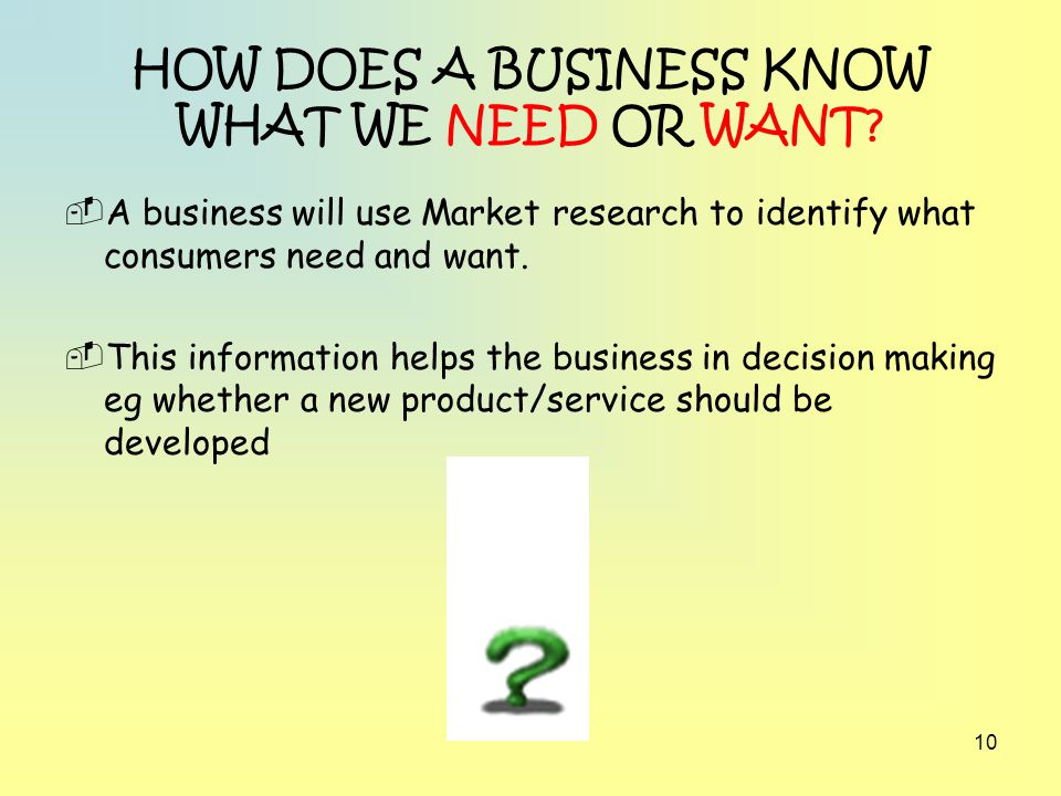 HOW DOES A BUSINESS KNOW WHAT WE NEED OR WANT
