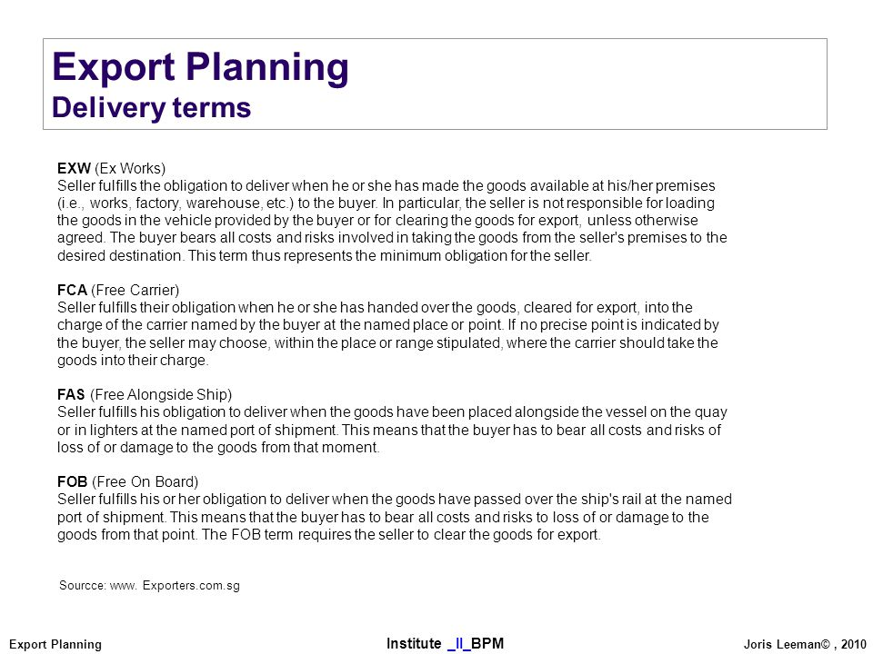 Export Planning Delivery terms