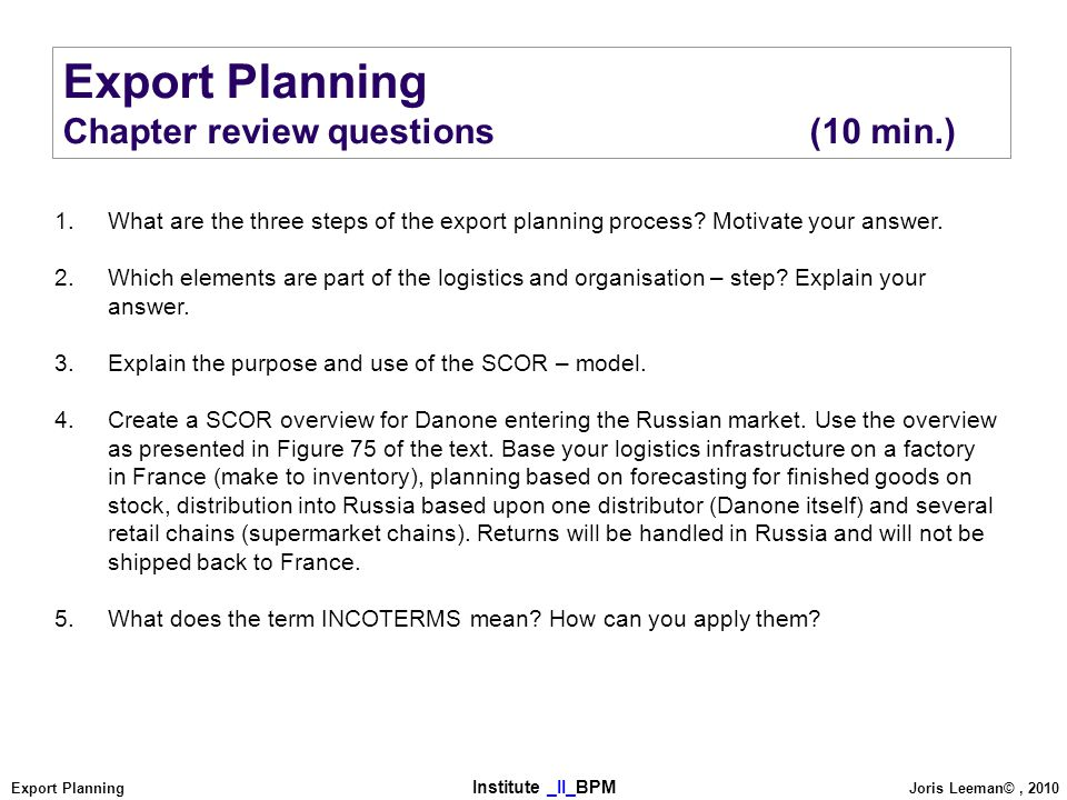 Export Planning Chapter review questions (10 min.)