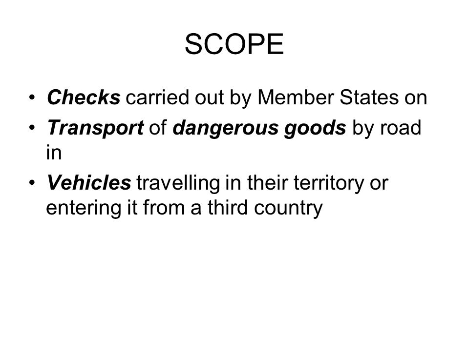 SCOPE Checks carried out by Member States on