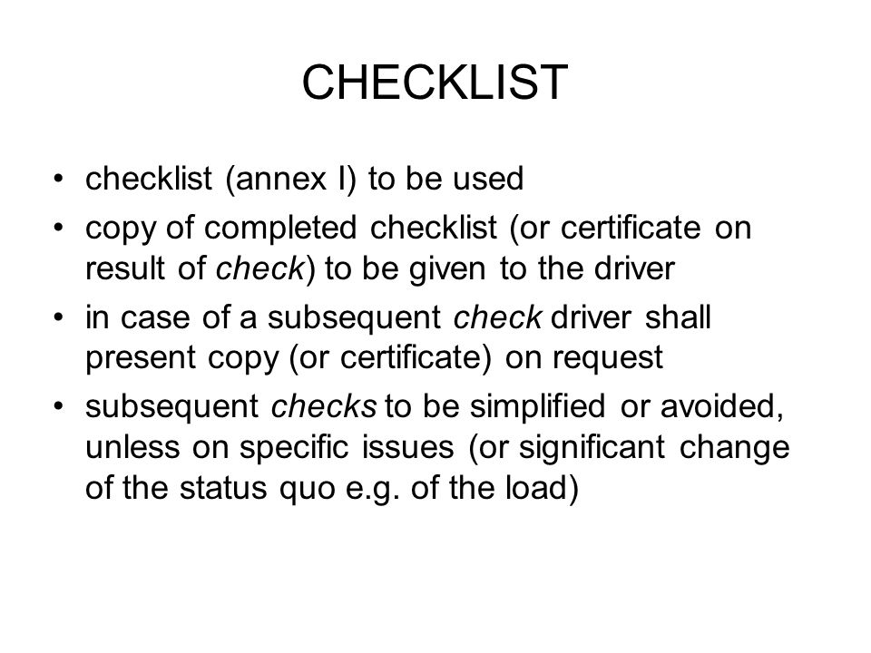 CHECKLIST checklist (annex I) to be used