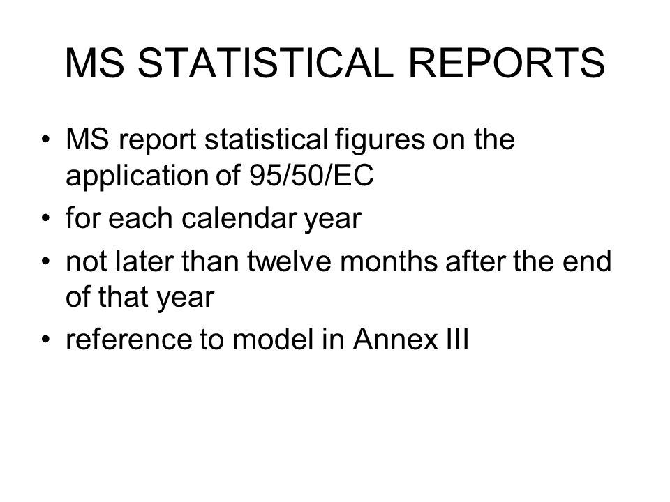 MS STATISTICAL REPORTS