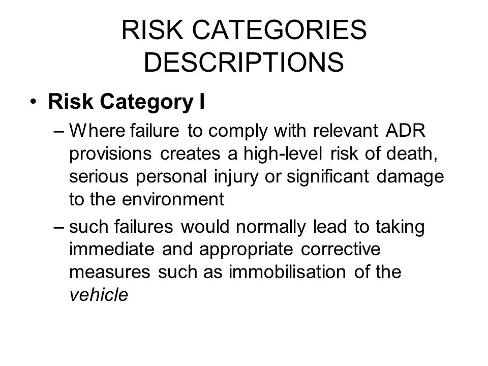 RISK CATEGORIES DESCRIPTIONS