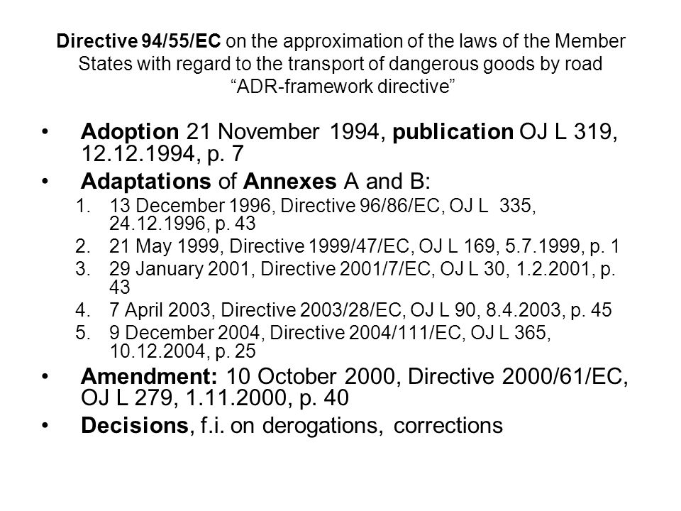 Adoption 21 November 1994, publication OJ L 319, 12.12.1994, p. 7