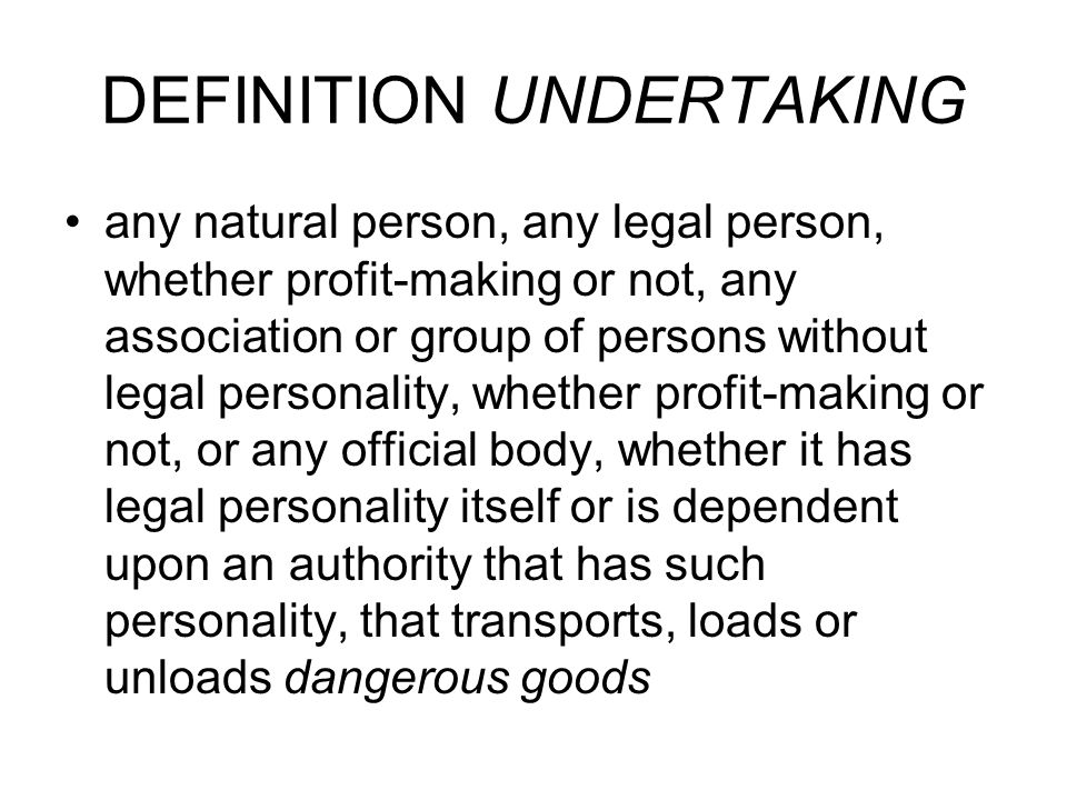 DEFINITION UNDERTAKING