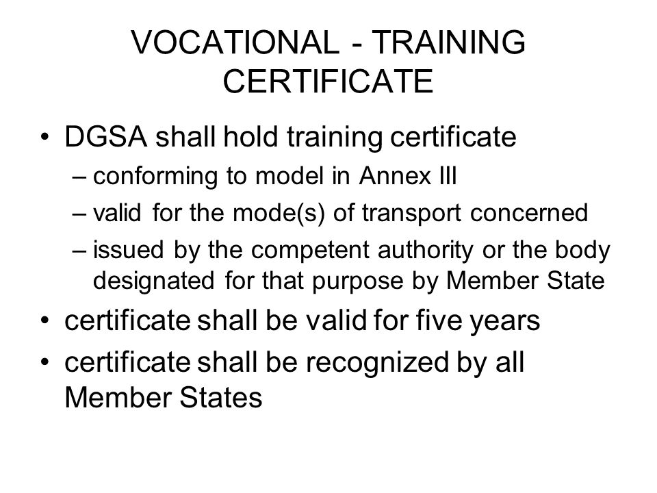 VOCATIONAL - TRAINING CERTIFICATE
